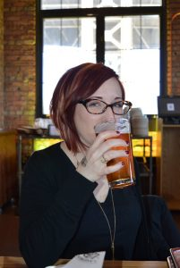 Laurel Miltner drinking beer at Lakefront Brewery in Milwaukee
