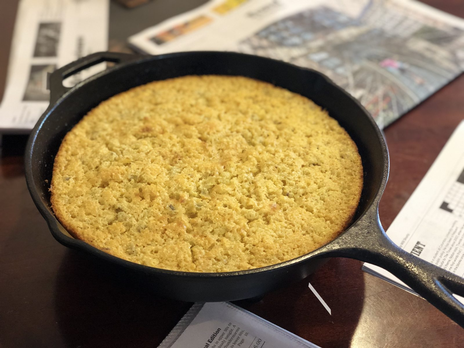 moist cornbread in cast iron skillet