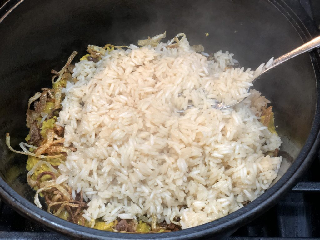 layering leftover turkey biryani