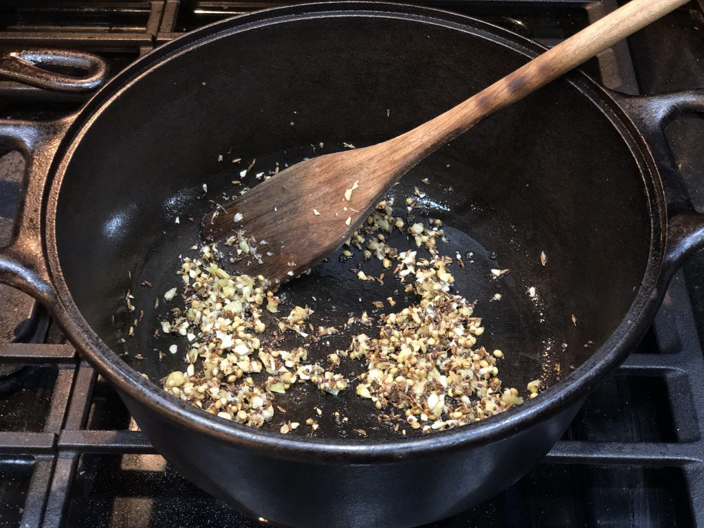 toasting cumin coriander and mustard seeds