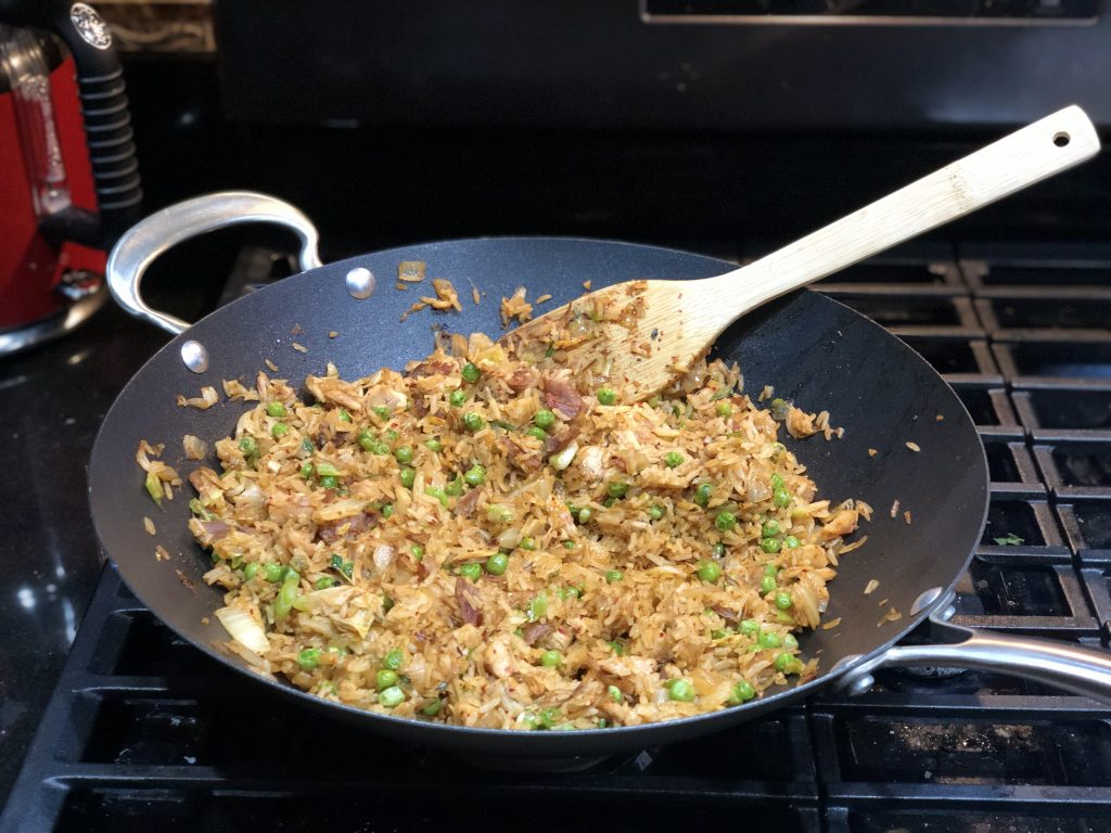 turkey leftovers made into kimchi fried rice